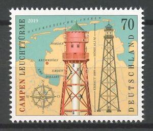 Germany-2019-MNH-Campen-Lighthouse-1v-Set-Lighthouses-Architecture-Stamps