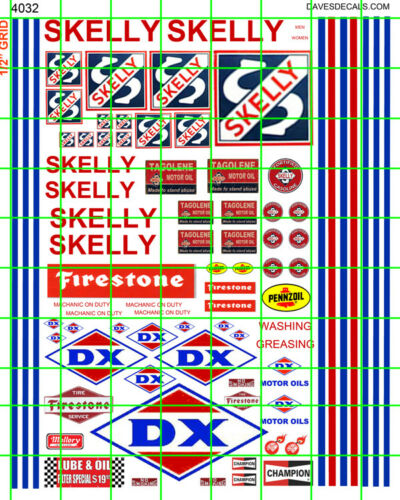 4032 DAVE/'S DECALS GAS//OIL SKELLY DX FILLING STATION SIGNAGE w MORE COMBINE SHIP