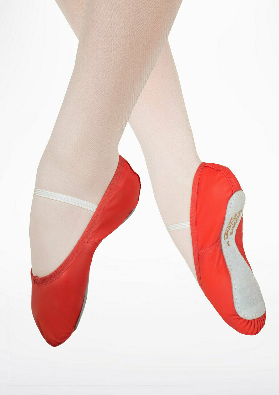 Girls / Ladies Red Leather Ballet Shoes Full Sole by Tappers & Pointers N