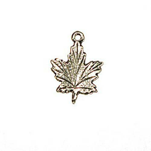 15*20mm Pendant Maple Leaf Ant.Silver