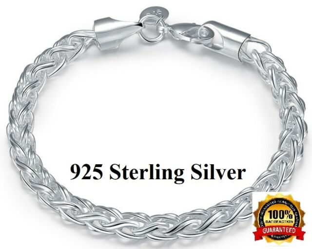 Handmade 925 Sterling Silver Bracelet with Twist and Rope Design with Gift Box