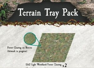 Dwarven-Forge-Caverns-Deep-Forest-Metal-Terrain-Tray-2-Pack-D-amp-D-Tiles-NEW