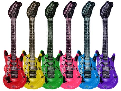 Lot de 6 Guitares gonflables Rock n Roll environ 55 cm mettre l'ambiance LG4706