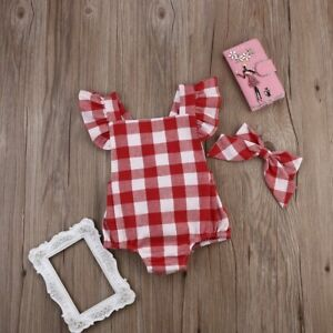8ac48a115bde Newborn Infant Kids Baby Girl Red Plaid Romper Jumpsuit With ...