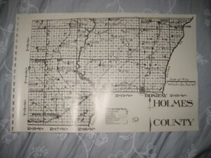 Antique 1914 Holmes County Florida Map 1987 Edition Bonifay Railroad