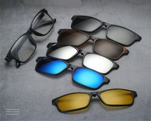 f5508c53d86 5 PACK Magnetic Clip-on Sunglasses Polarized + 1 x TR Classic ...