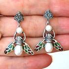 #E638 Boucles d'oreilles Argent Massif 925 Perles Rubis & Email Plique à Jour
