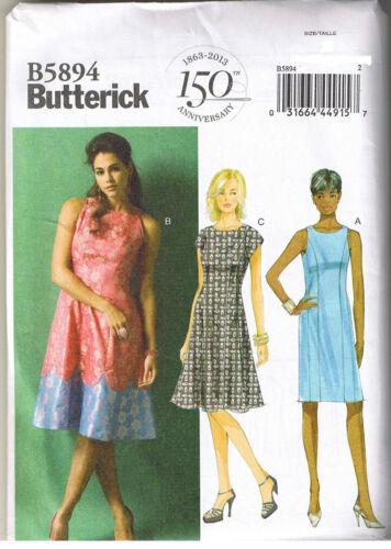 Flared Color Block Scalloped Hem Dress Butterick Sewing Pattern Sz 8 10 12 14 16