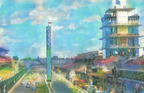PRINT Indianapolis Motor Speedway Indy 500 Race Car Fine Wall Art Painting 11x17