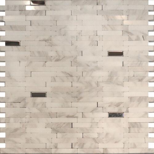 Sample-Stainless Steel Carrara White Marble Stone Mosaic Tile Backsplash Kitchen