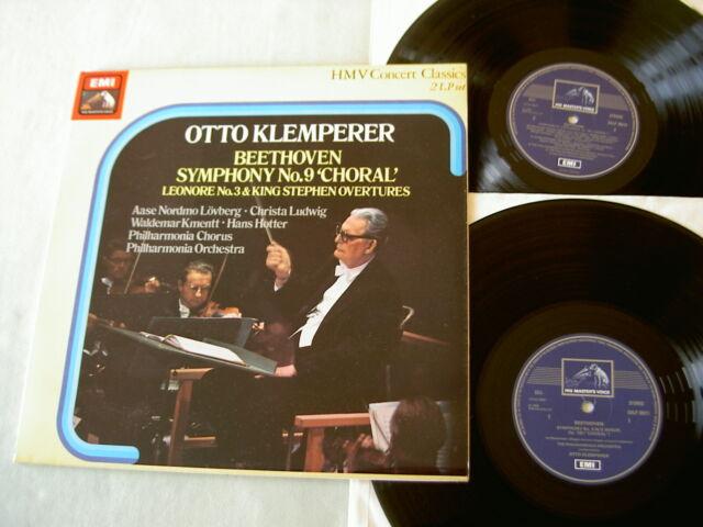 BEETHOVEN Symphony No. 9/Overtures: Leonore/King Stephen Klemperer vinyl 2LP