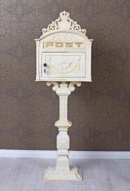 Boîte Aux Lettres Blanc Vintage Stand Ancien Fonte