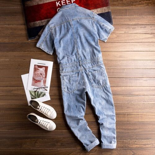 Fashion Men/'s Summer Washed Denim Casual Shorts Sleeve Jumpsuit Pants Rompers