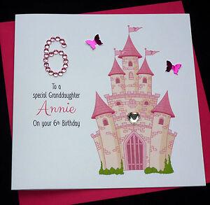 Image Is Loading Handmade Personalised Pink Fairytale Castle Birthday Card
