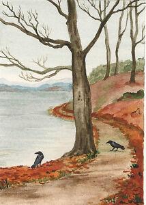 5x7 PRINT OF PAINTING RAVEN CROW RYTA GOTHIC ART MAGIC FOLK HALLOWEEN WITCH TREE