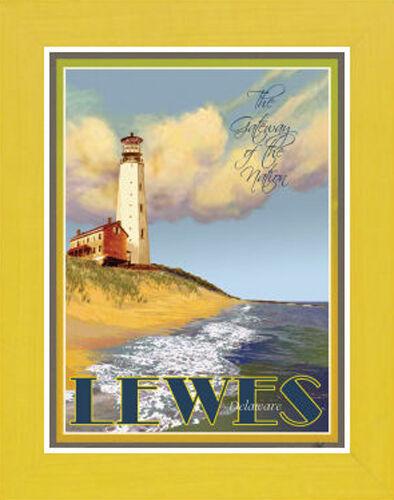 Framed Vintage Art Deco Travel Poster Lewes,DE Lighthouse by Aurelio Grisanty