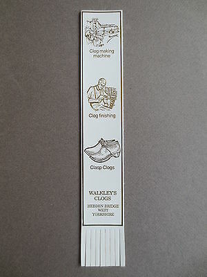 BOOKMARK Leather WALKLEY'S CLOGS Clog Making Hebden Bridge West Yorkshire White