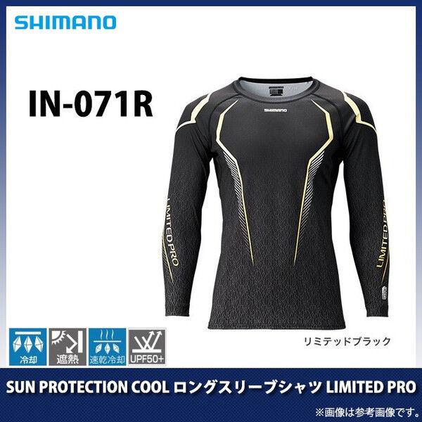 Shimano fresco de Projoección Solar camisa de mangas largas Limitada Pro IN-071R Negro Japón