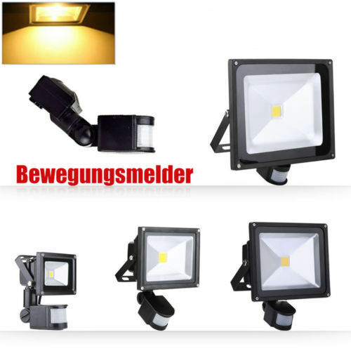 10W 20W 30W 50W 100W LED Fluter MIT BEWEGUNGSMELDER Außenstrahler Warmweiß Lampe
