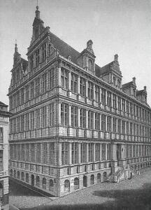 BELGIUM-Ghent-Gent-City-Hall-1860s-Antique-Engraving-Print