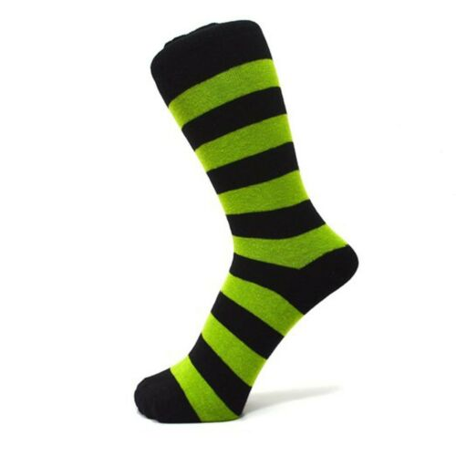 Black And Lime Green Thick Striped Ankle Socks Size: 6-11