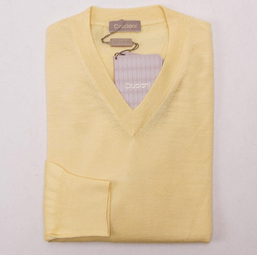 NWT 995 CRUCIANI Light Gelb Superfine Cashmere-Silk Sweater Slim Eu 52 (L)