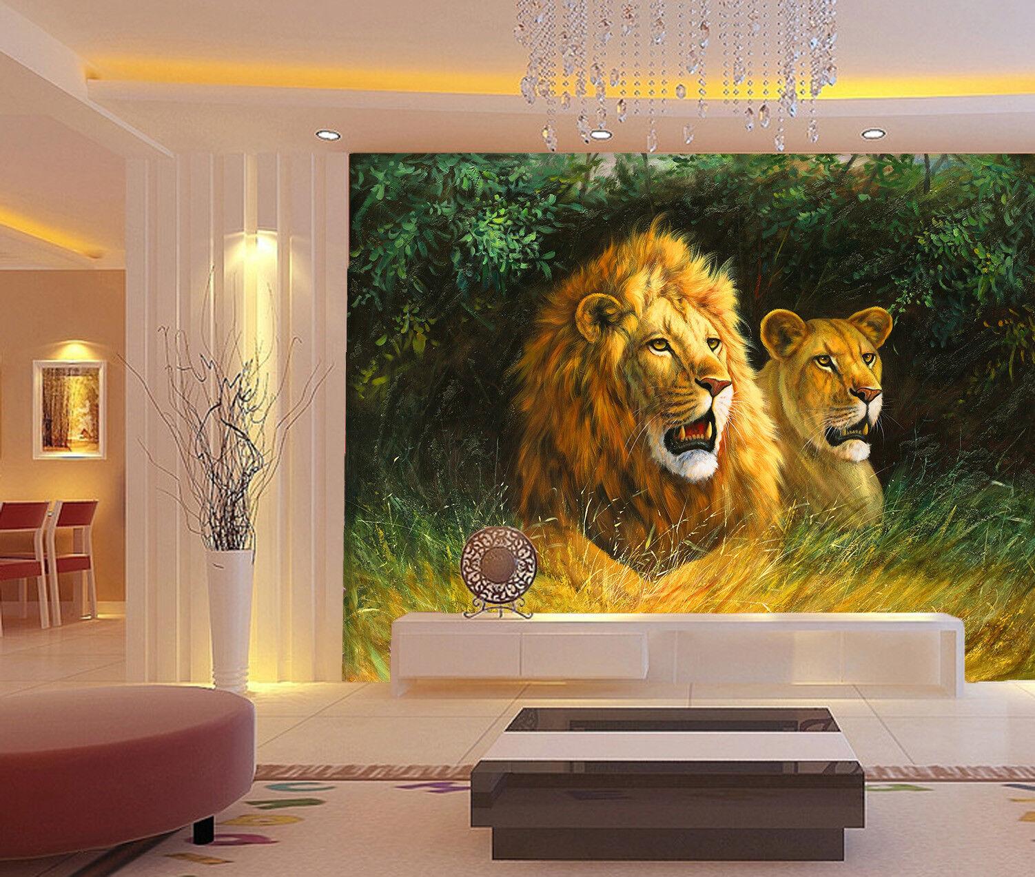 3D Animal Lion 739 Wallpaper Mural Wall Print Wall Wallpaper Murals US Lemon