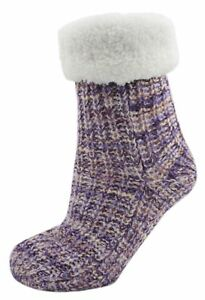 Zest-Yarn-Twist-Knitted-Fleece-Lined-Chunky-Slipper-Socks-Purple