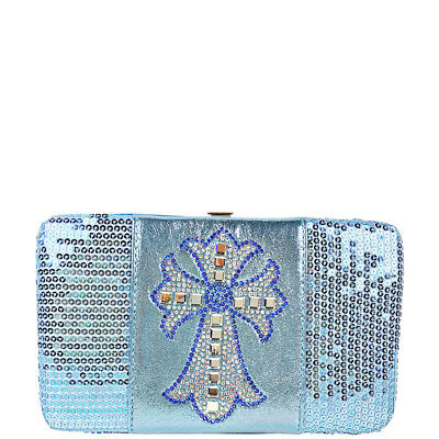 RED CHEVRON STUDDED RHINESTONE CROSS LOOK FLAT THICK WALLET WESTERN BLING BIFOLD