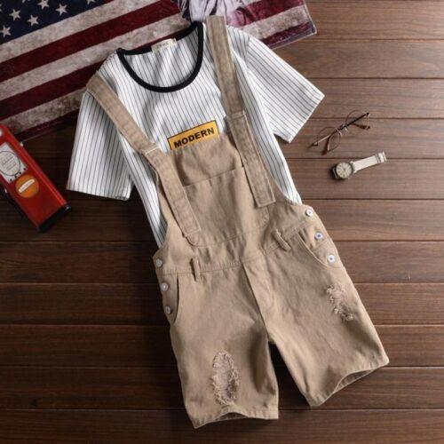 Fashion Mens Ripped Holes Overall Slim Short Bib Pants Suspender Trousers Shorts