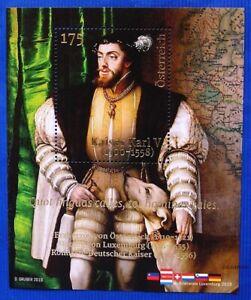 Kaiser-Karl-V-1500-1558-Osterreich-1W-BL-mit-Golddruck-November-2019