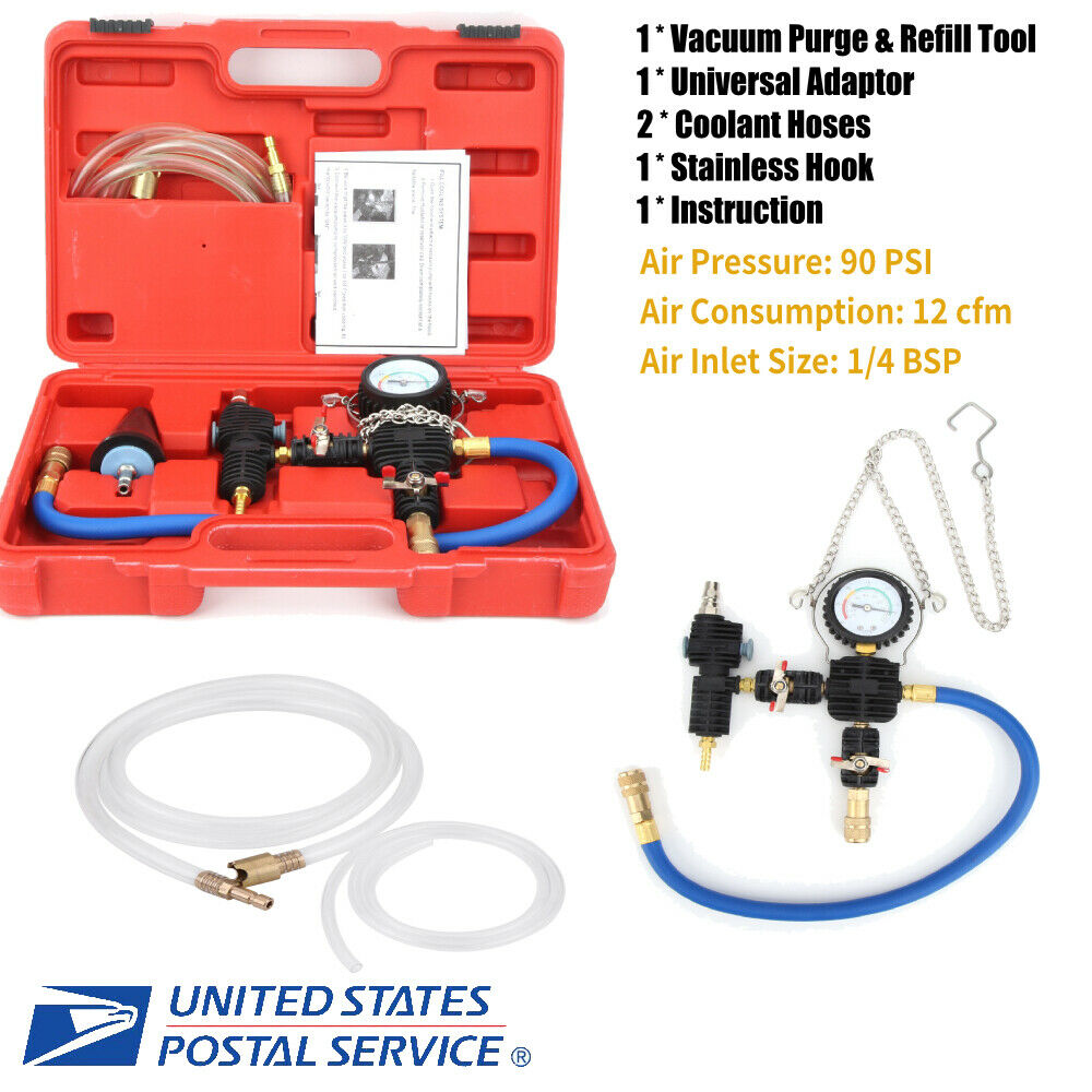 Coolant Refill Tool Cooling System Vacuum Purge /& Coolant Refill Kit with Carrying Case for Car SUV Van Cooler