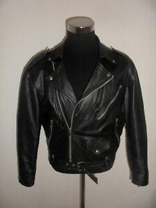 vintage-italy-Motorradjacke-Lederjacke-bikerjacke-oldschool-leather-jacket-M