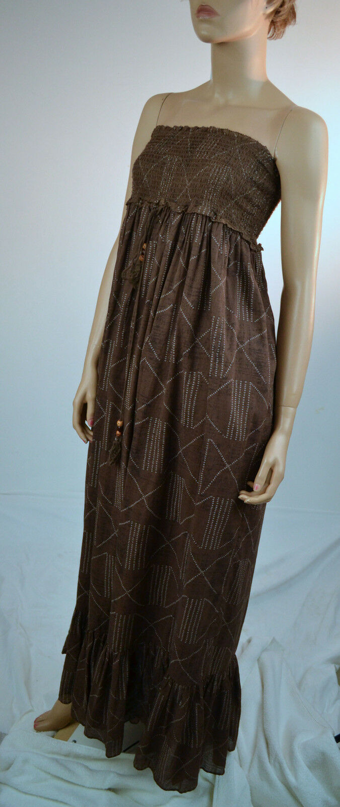 Ralph Lauren braun Halter Cotton Dress Beaded Tassles -Sz Med-NWT Retail