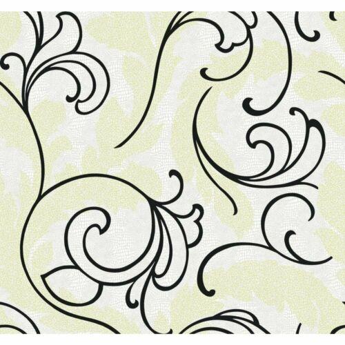 York Wallcoverings WH2651 Serpentine Scroll Wallpaper Black Beige