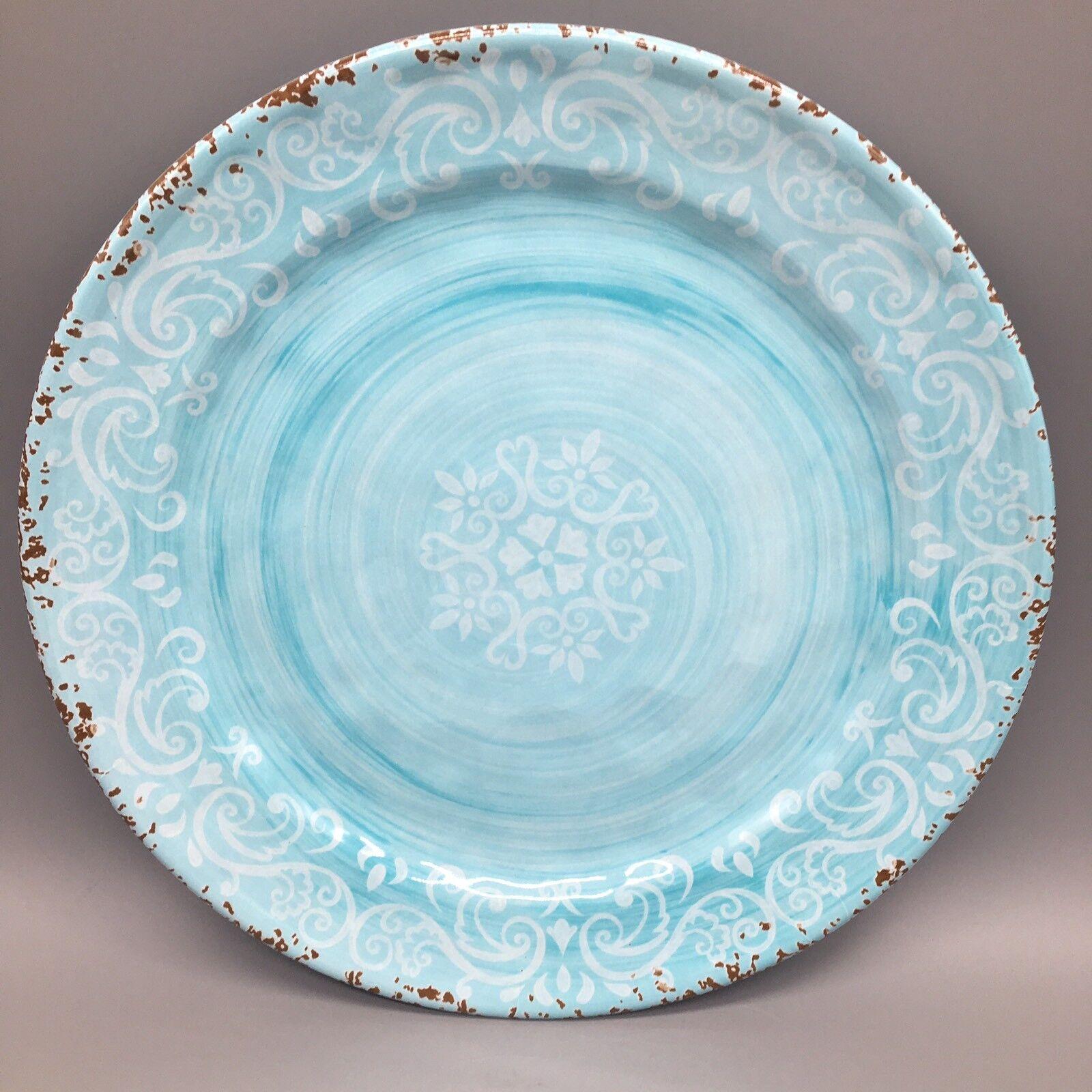 X6 Cynthia Rowley Aqua bleu MELAMINE Dinner Plate Set Rustic Medallion Print NEW