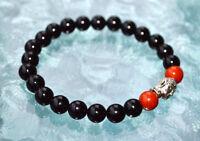 Rd Coral & Black Onyx 8 Mm Wrist Mala Beads Healing Bracelet