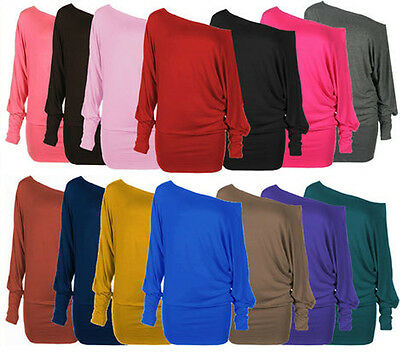 NEW LADIES PLUS SIZE OFF SHOULDER BAGGY BATWING LONG SLEEVE SLOUCH DRESS TOP8-20