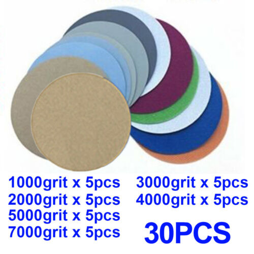 5 1000-7000 Grit Wet/&Dry Sanding Disc Hook/&Loop Sand Papers High Quality New