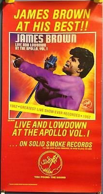 """James Brown Live & Low-Down At The Apollo 27""""x14"""" In Store 1980 Promo Poster"""