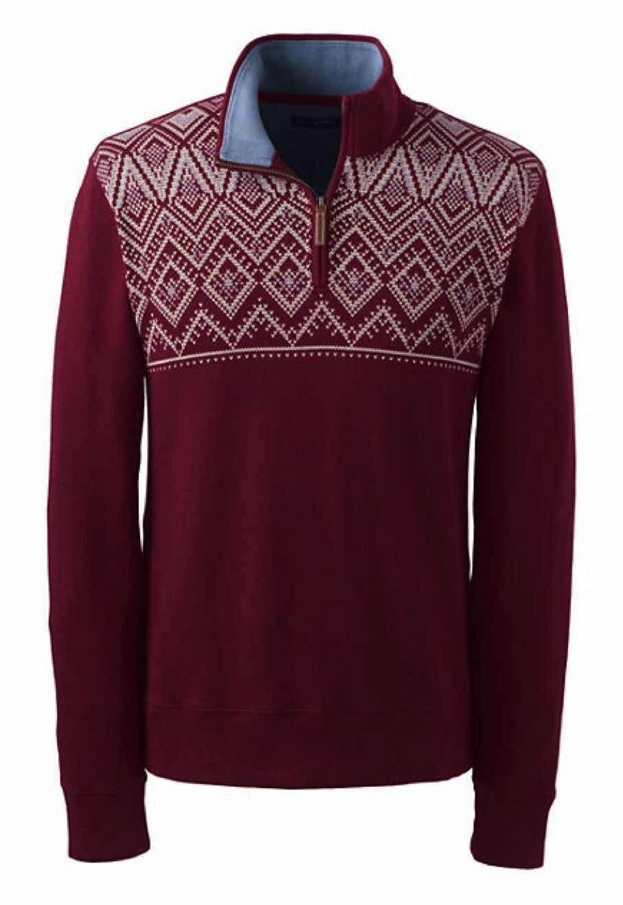 Lands End -  Herren M 38/40 - NWT - ROT Fair Isles Bedford Rib French Terry Sweater