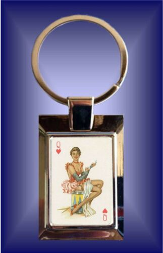 1950/'S PIN-UPS PLAYING CARD IMAGE ON METAL KEYRING IN GIFT BOX LUCKY 7 POKER