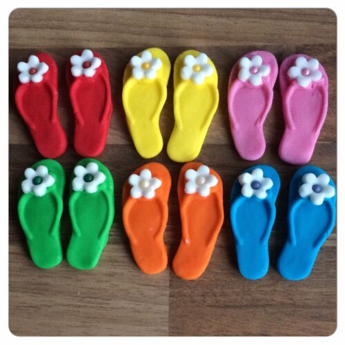 12 RAINBOW FLIP FLOPS  Edible Shoes Summer Holiday Sugar Cake Decorations Topper