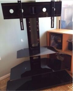 Tremendous Details About Modern 3 Shelf Black Glass Tv Stand With Integrated Wall Mount Download Free Architecture Designs Scobabritishbridgeorg