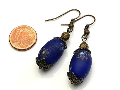 Vintage Edelstein ohrhänger azul Millefiori chevron Star bronce Handmade