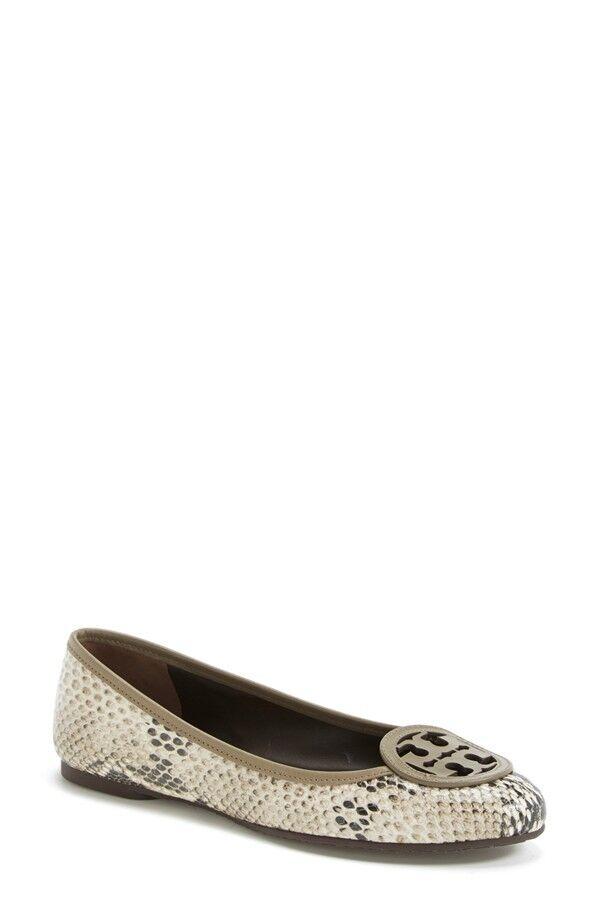 Nuevo en caja con el el el logotipo de tory burch Louisa plana Natural fango Serpiente Zapato de cuero en relieve en 6.5  gran venta