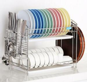Premium-Stainless-Steel-Twin-Tray-Dish-Kitchen-Rack-Drainer-Chopping-Board-Hold