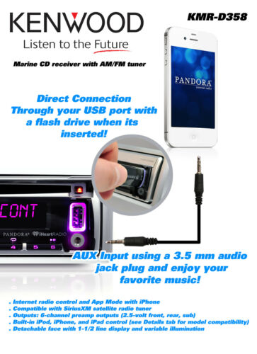 """New Marine CD//AM//FM USB AUX Input 6.5/"""" Silver Speakers 800W Amp Antenna Cover"""