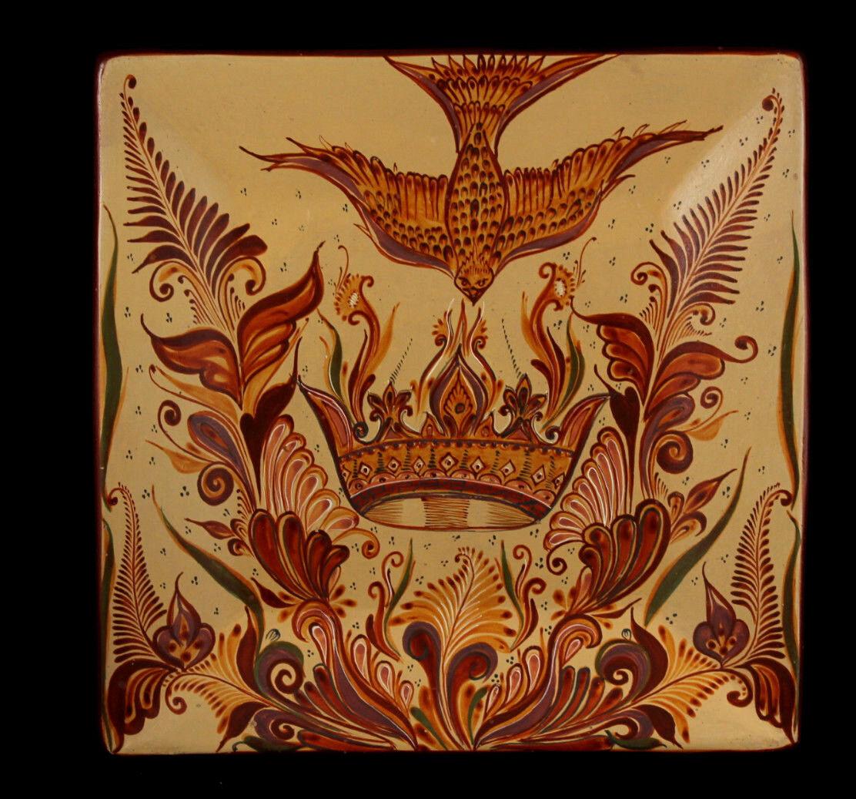 Mexican Ceramic Plate Master Potter Zenon Pajarito Folk Art Museum Quality   2