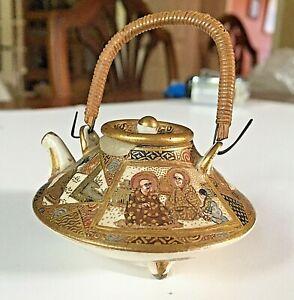 Gorgeous-Signed-Antique-Japanese-Miniature-Satsuma-Teapot-Meiji